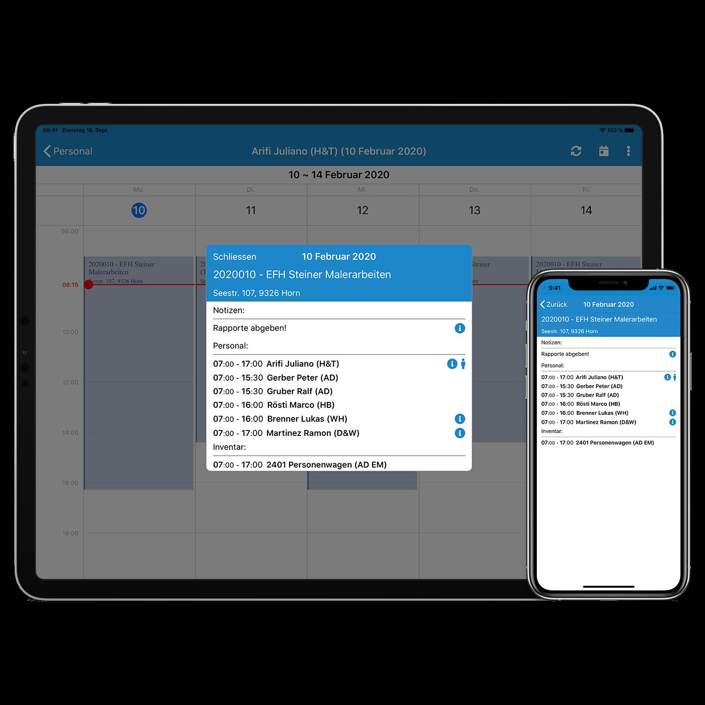 Ressourcenplanung ipad und iphone klein
